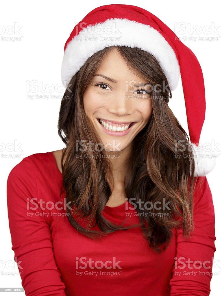 Christmas girl wearing santa hat royalty-free stock photo