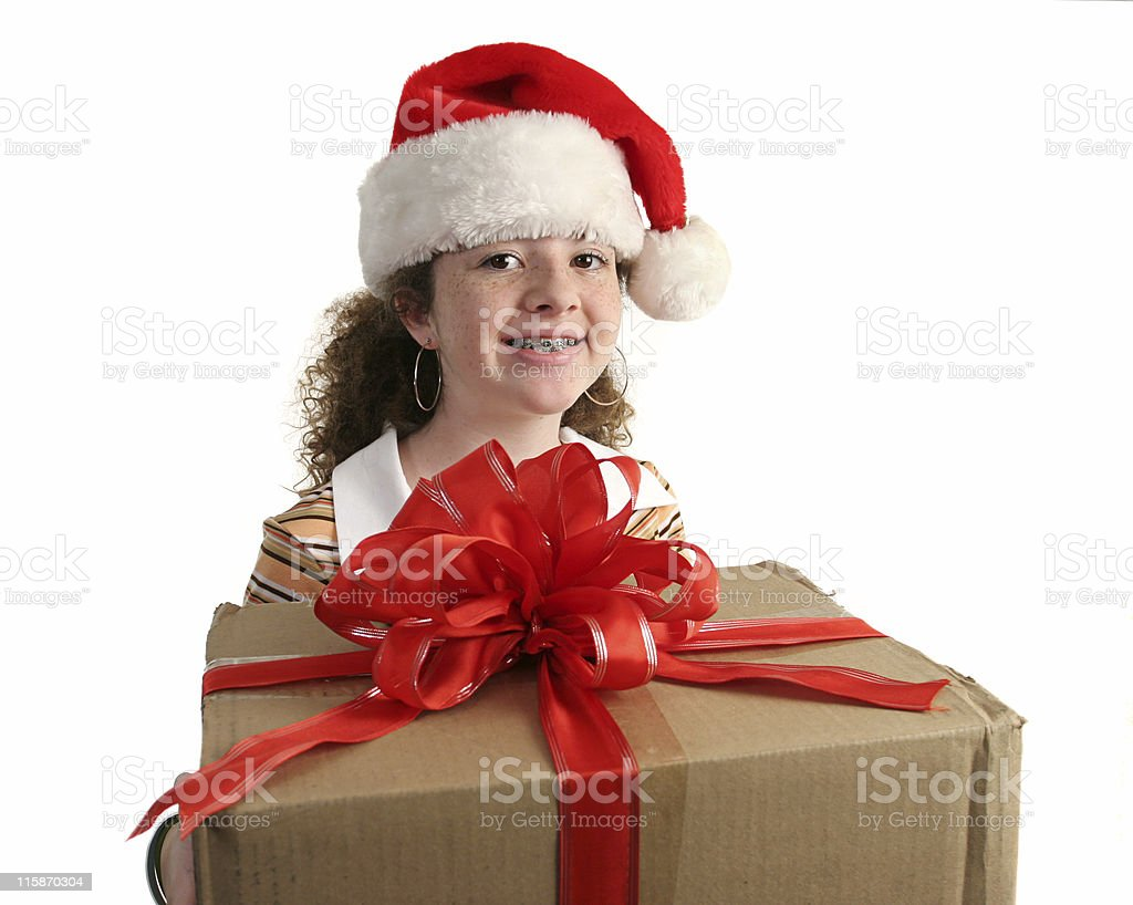 Christmas Girl With Braces royalty-free stock photo