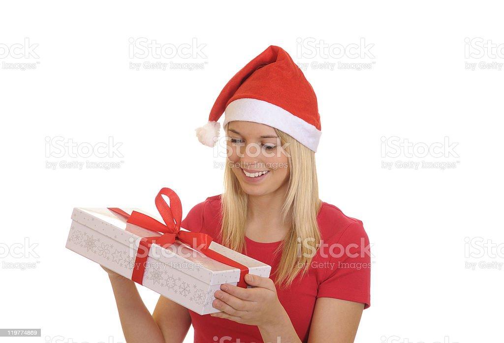 christmas girl with gift stock photo