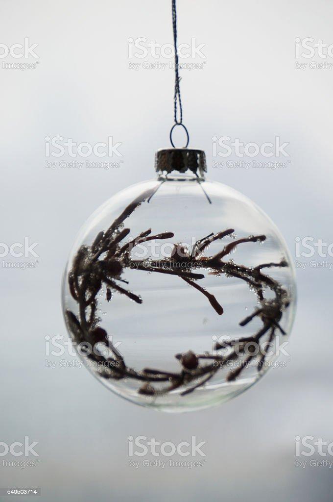 Christmas glass sphere stock photo