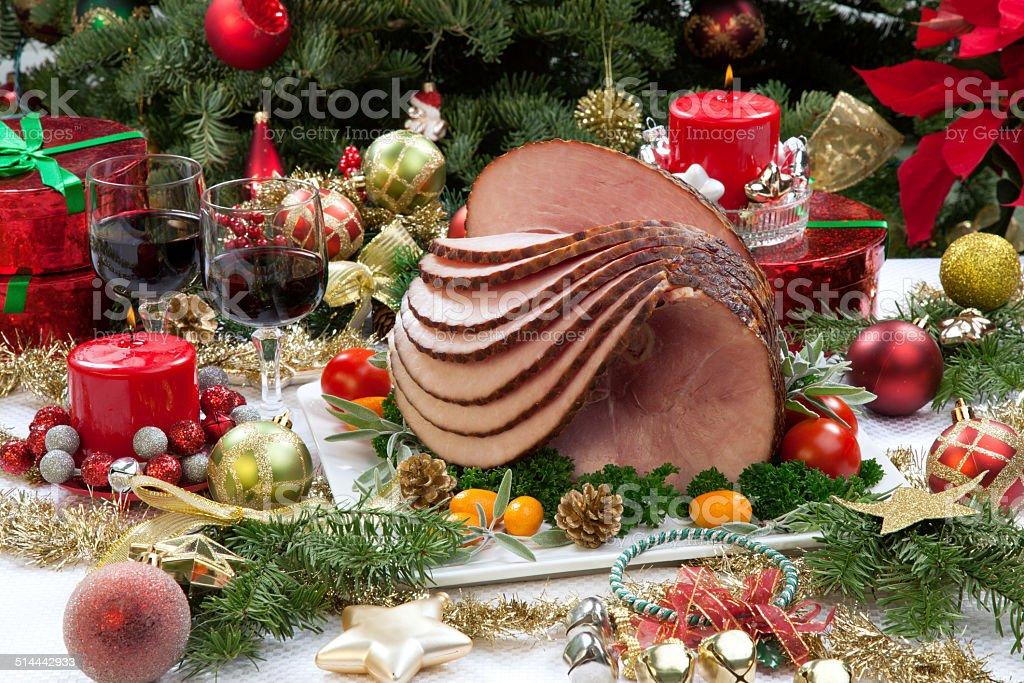 Christmas Glazed Ham stock photo