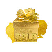Christmas gold gift box isolated with word sale