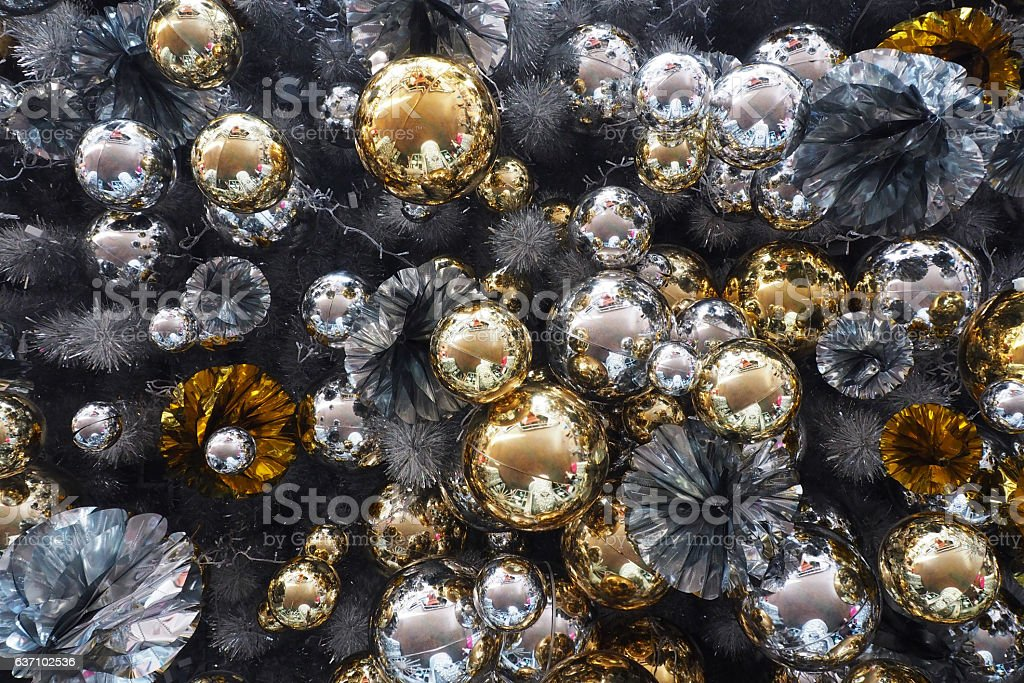 Christmas Gold Silver Decoration Background texture stock photo