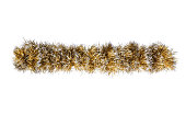 Christmas gold silver tinsel. Isolated on a white background.