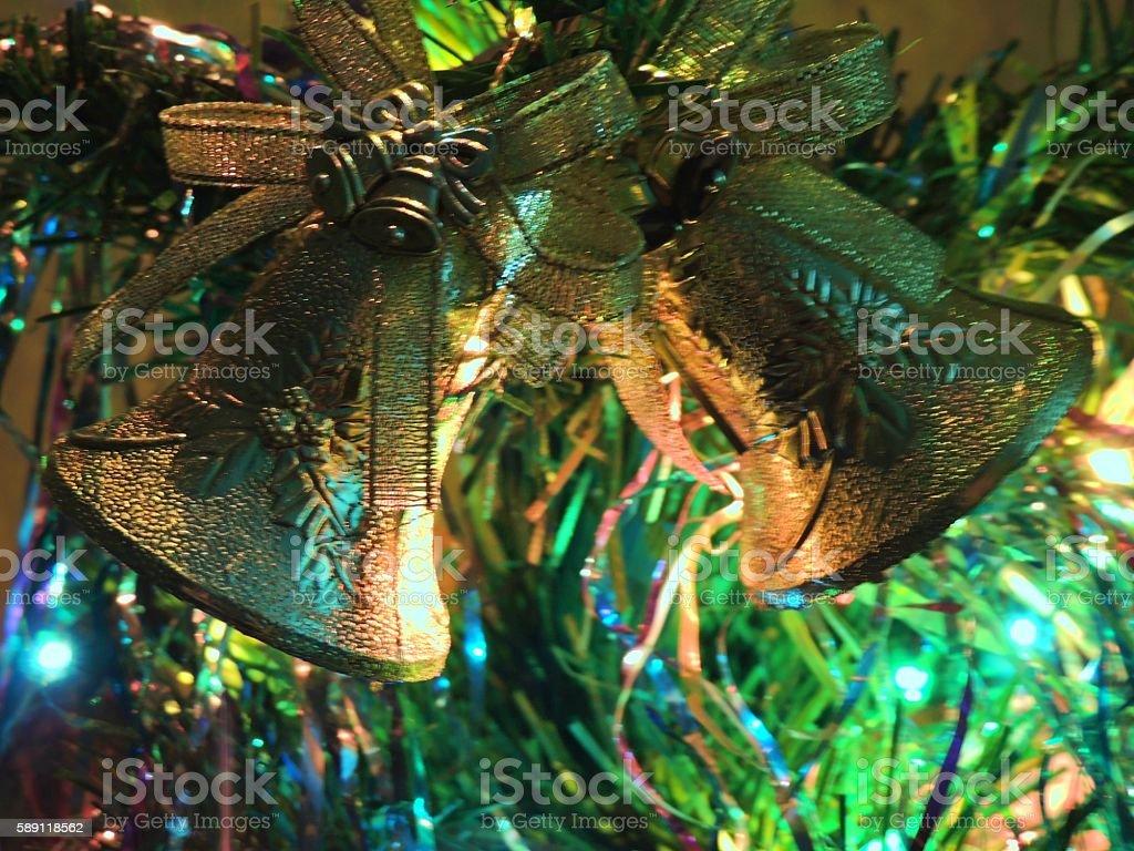 Christmas Golden bells on a Christmas tree. stock photo