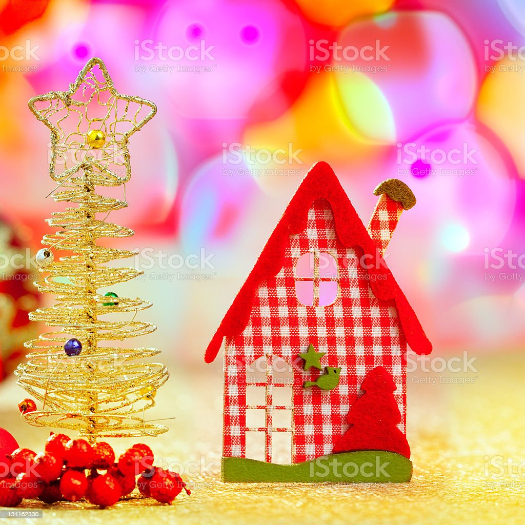 Christmas golden tree and red vichy house royalty-free stock photo