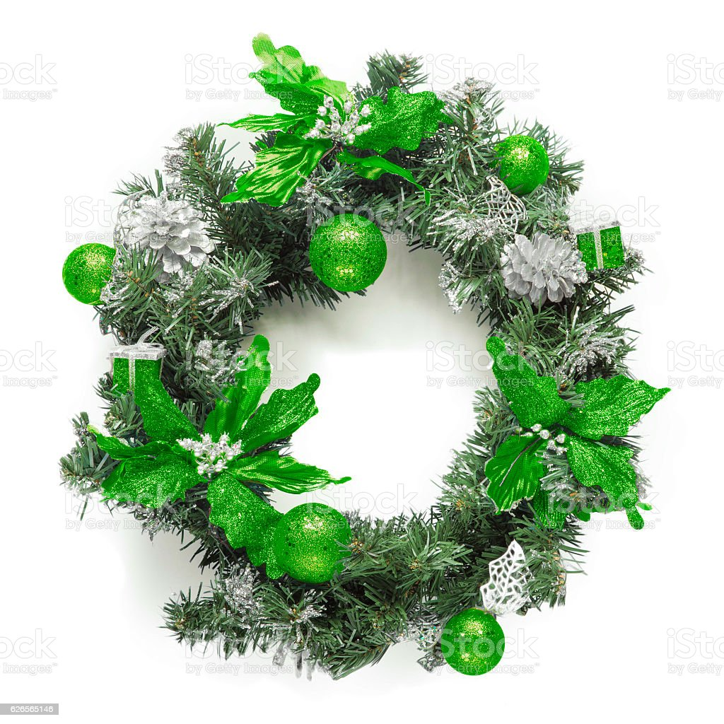 Christmas green wreath isolated on white stock photo