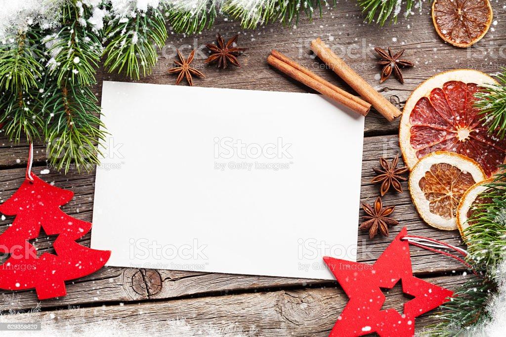 Christmas greeting card and food decor stock photo