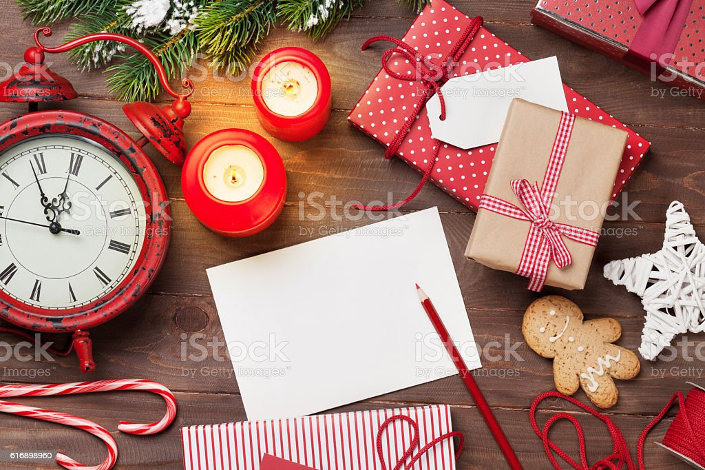 Christmas greeting card and gift boxes stock photo