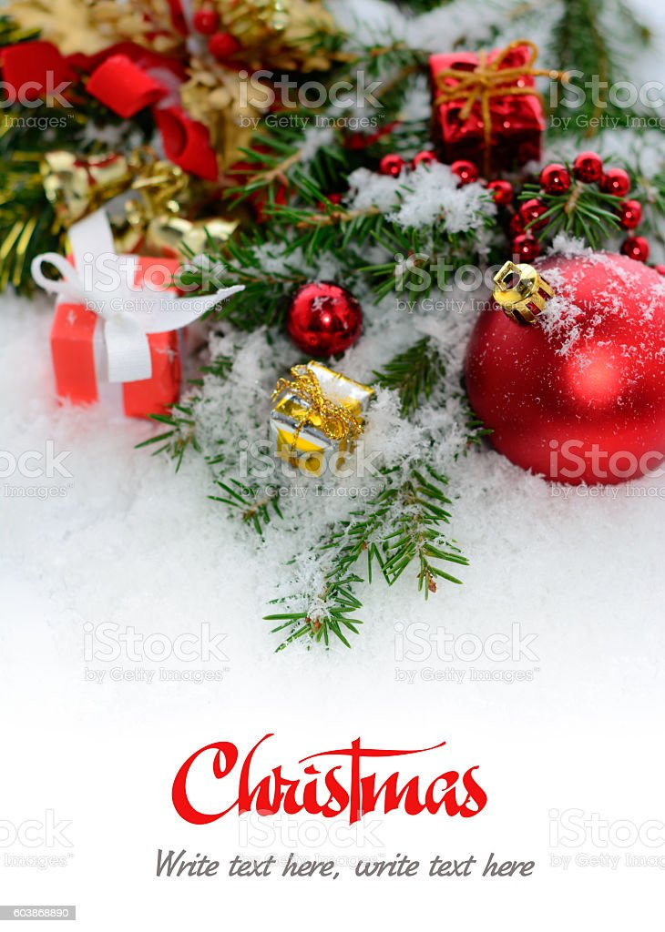 Christmas greeting card - border from fir three  in snow. stock photo