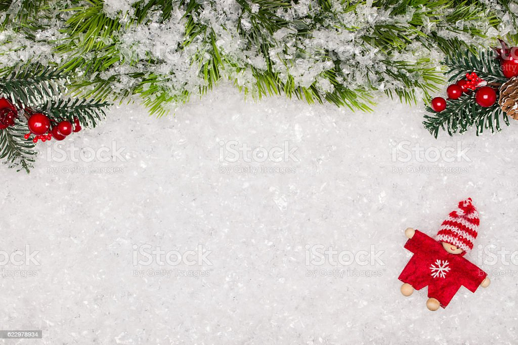 Christmas greeting card. Christmas border with copy space. Noel...