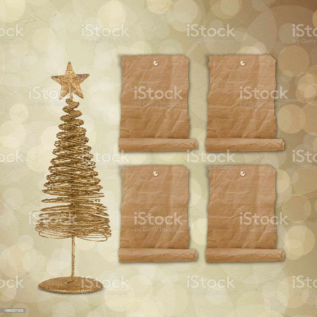 Christmas greeting card with gold metal firtree on background royalty-free stock vector art