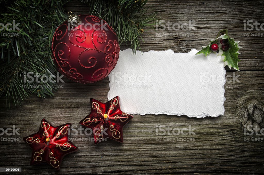 Christmas Greeting card with gold ornaments royalty-free stock photo