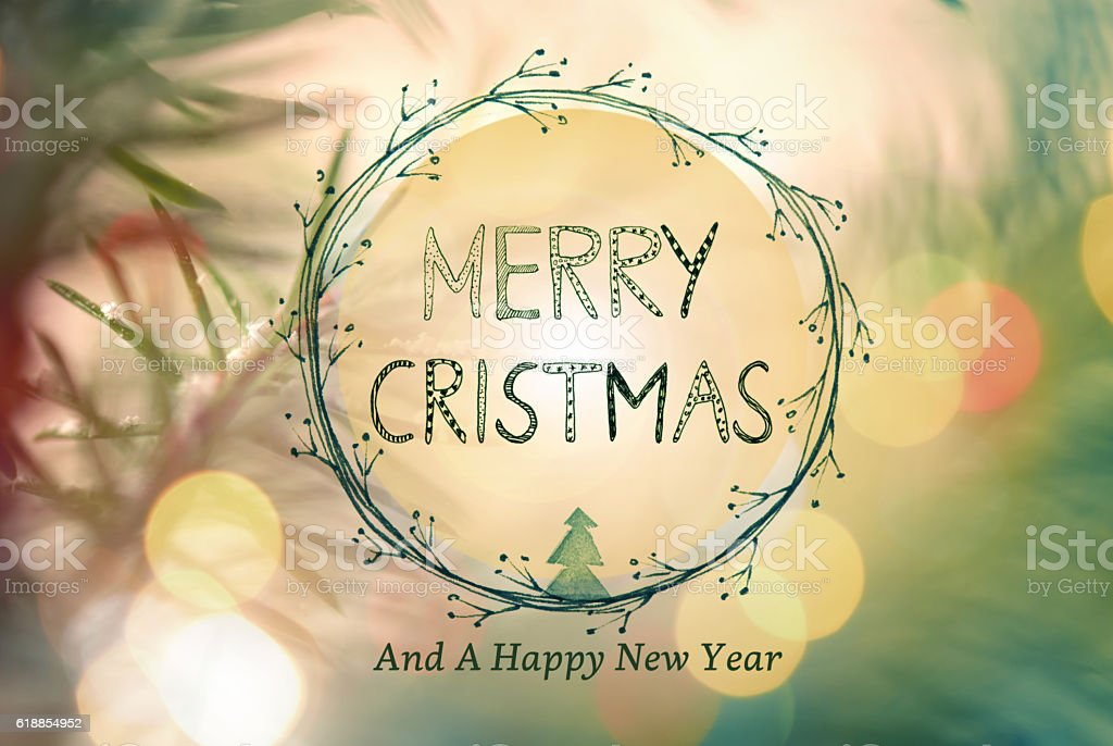 Christmas Greeting Card With Handwriting Elements stock photo
