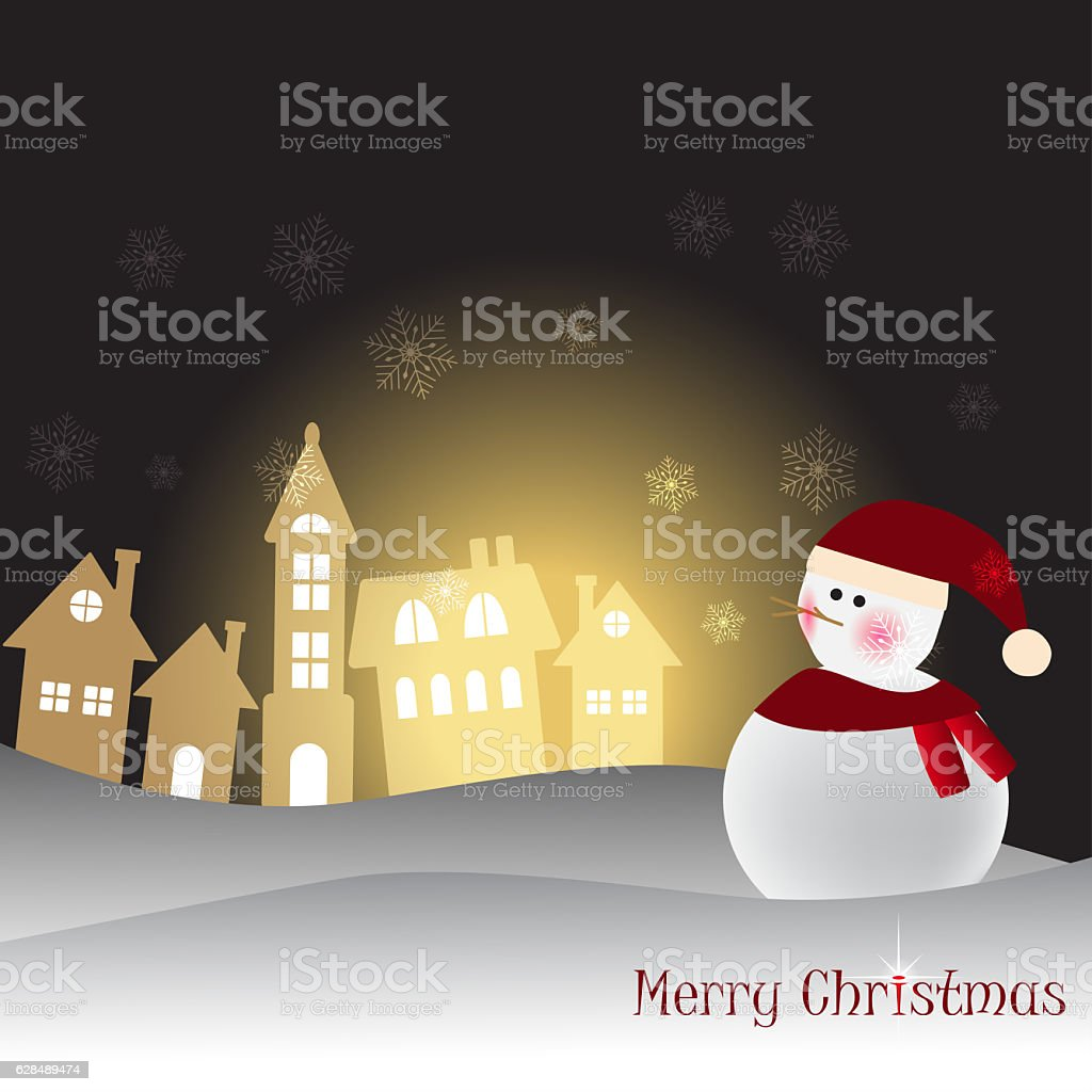 Christmas Greeting Card with Snowman. Vector illustration. stock photo
