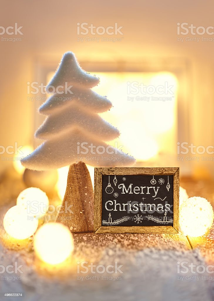 Christmas greeting card with text Merry Christmas stock photo