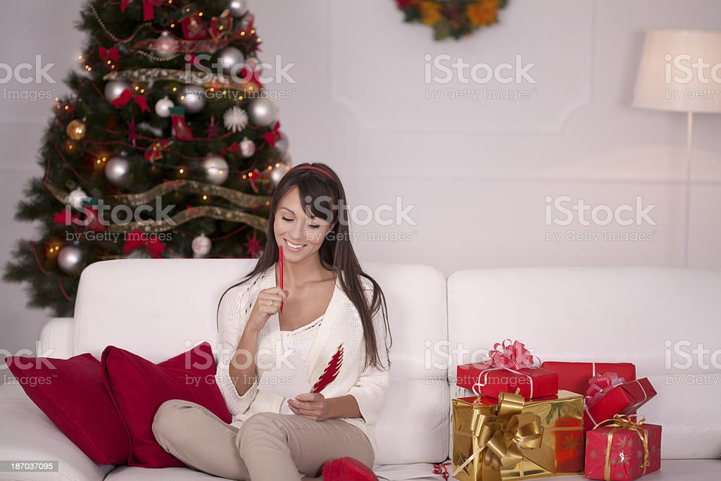 Christmas greeting cards and gifts royalty-free stock photo