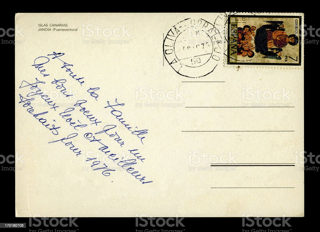 Christmas greetings postcard in French from the Canary Islands, 1975 stock photo