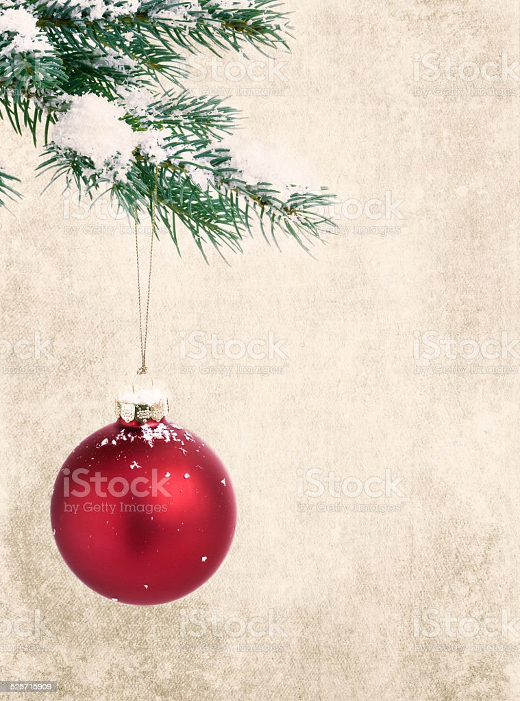Christmas grunge rustic red ornament bauble pine branch tree bac stock photo