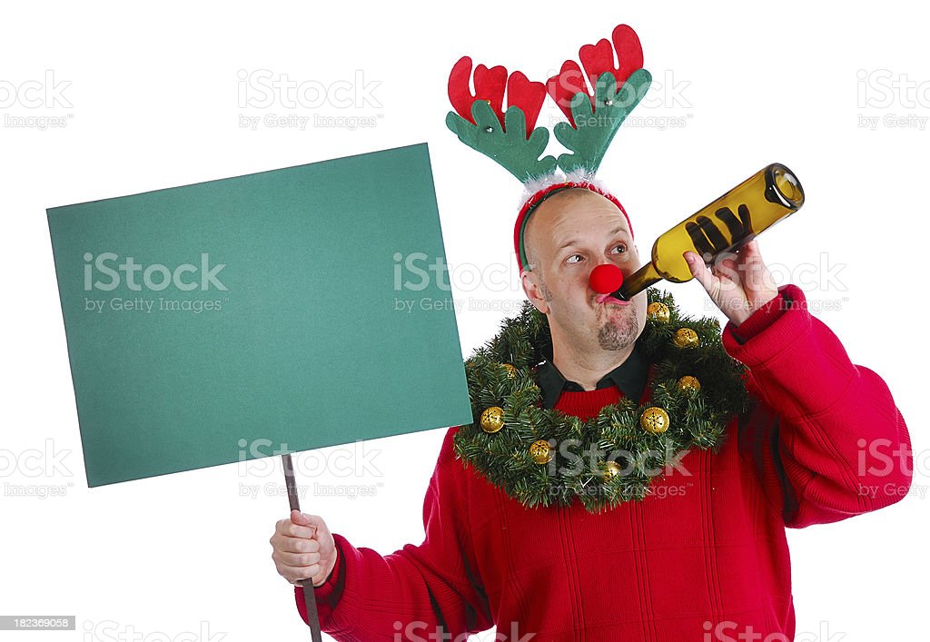 Christmas Guy Drinking stock photo