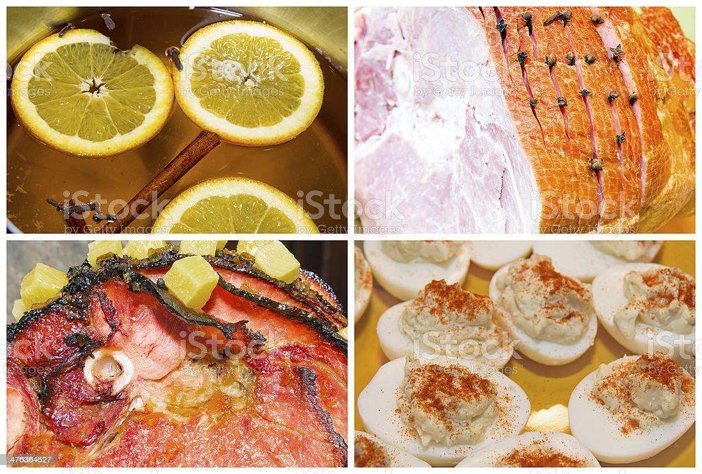 Christmas Ham Dinner Collage stock photo