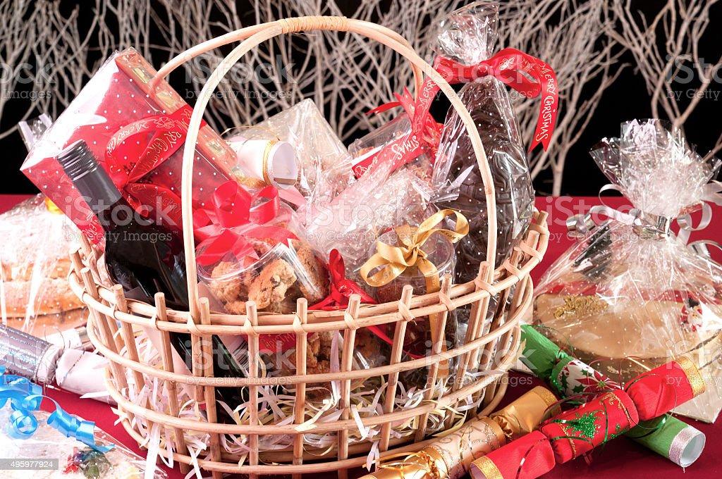 Christmas hamper basket stock photo