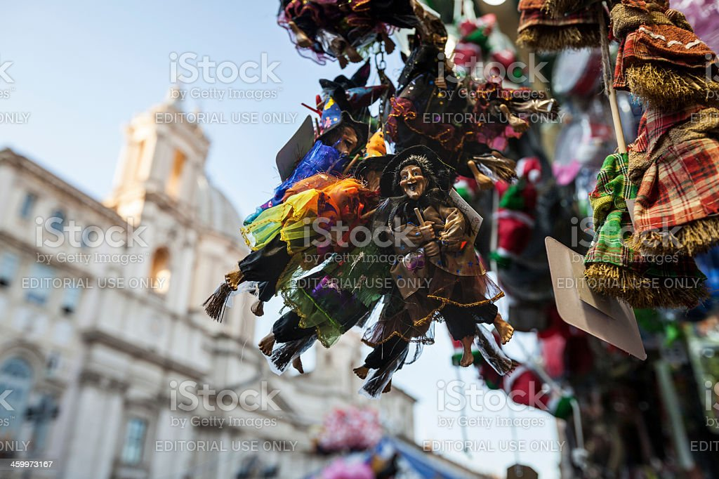 Christmas handicrafts at Piazza Navona, in Rome stock photo