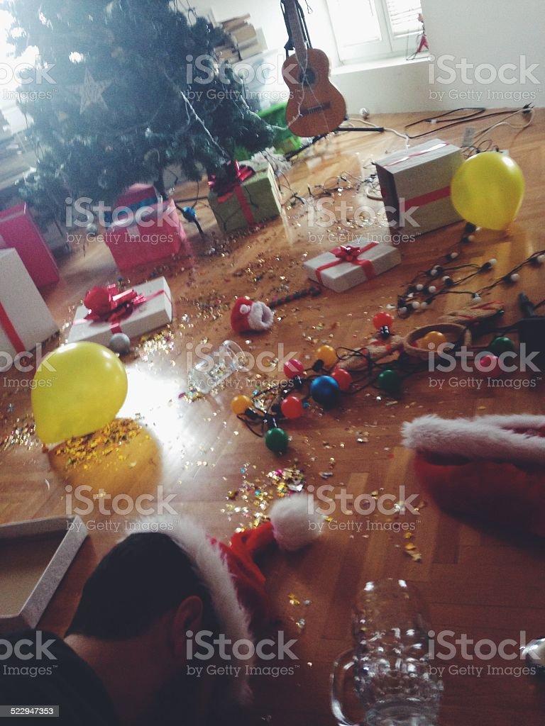 Christmas hangover stock photo