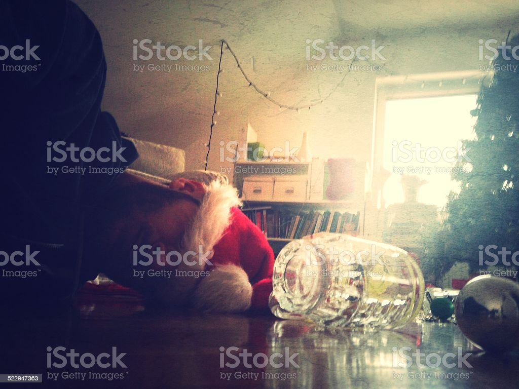 Christmas hangover stock photo