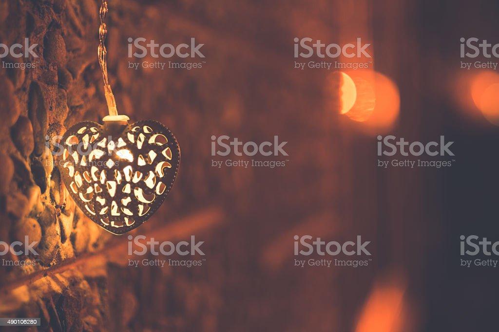 Christmas Heart Shape Light, Winter Background stock photo