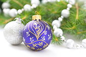 Christmas Holiday Background with Blue and Silver Baubles