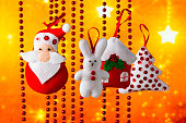 Christmas holiday background with Santa Claus and toys