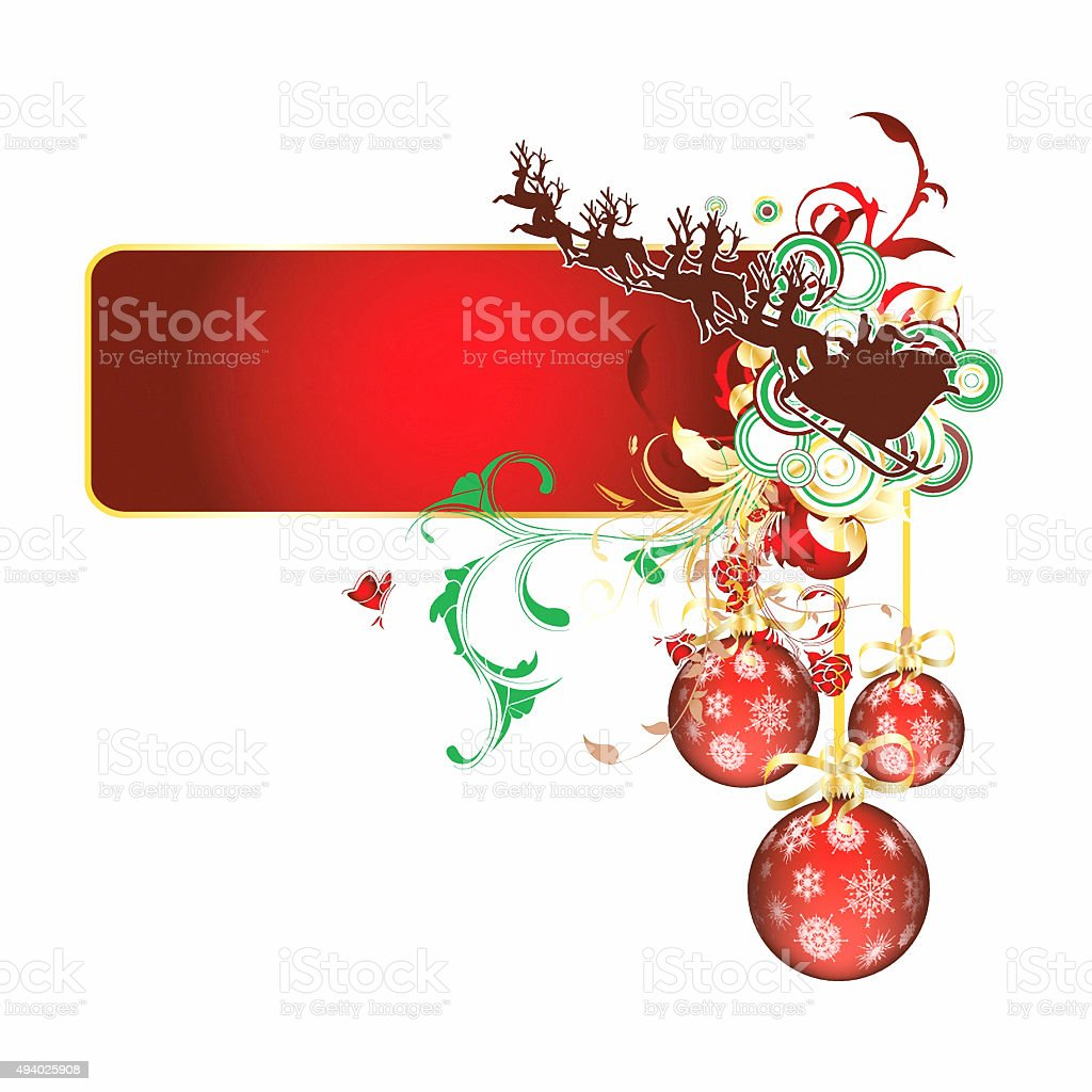 Christmas Holiday Background with Santa Sleigh stock photo