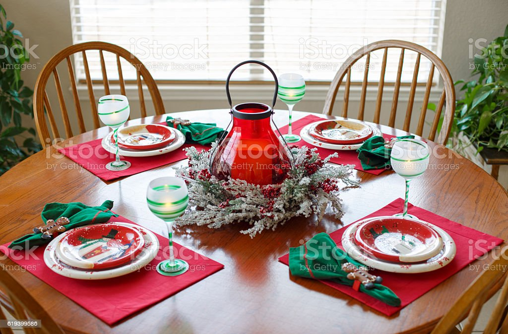 Christmas Holiday Dining Dinner Setting Arrangement Table royalty-free stock photo