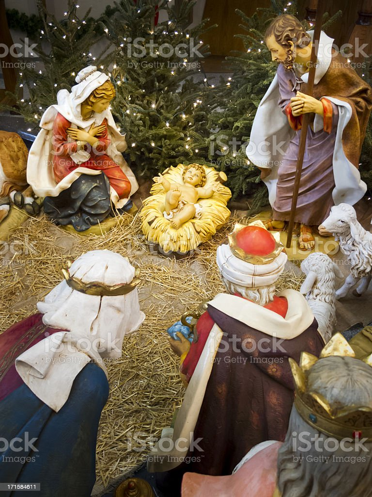 Christmas Holiday Nativity Scene With Focus On The Baby Jesus royalty-free stock photo