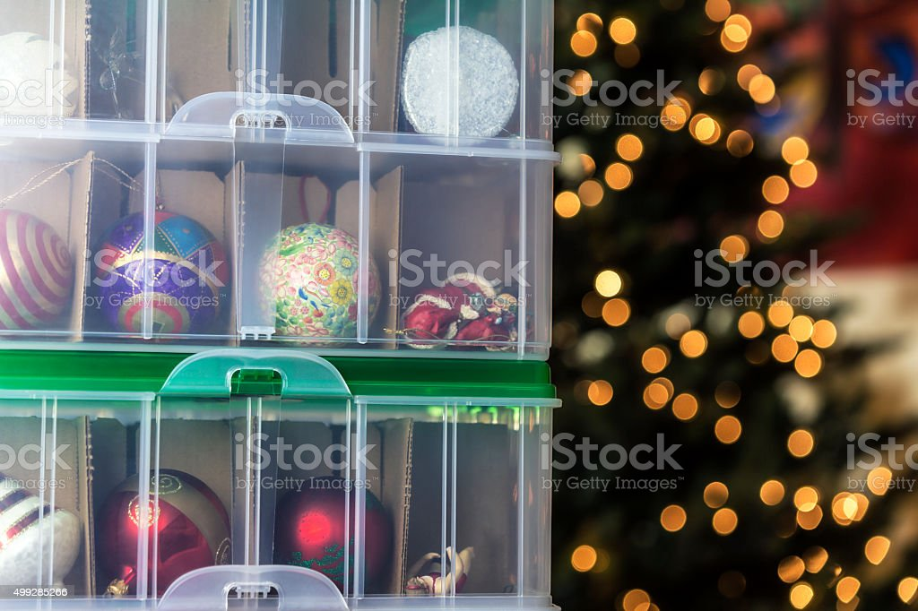 Christmas Holiday Ornaments Ready To Decorate Christmas Tree stock photo