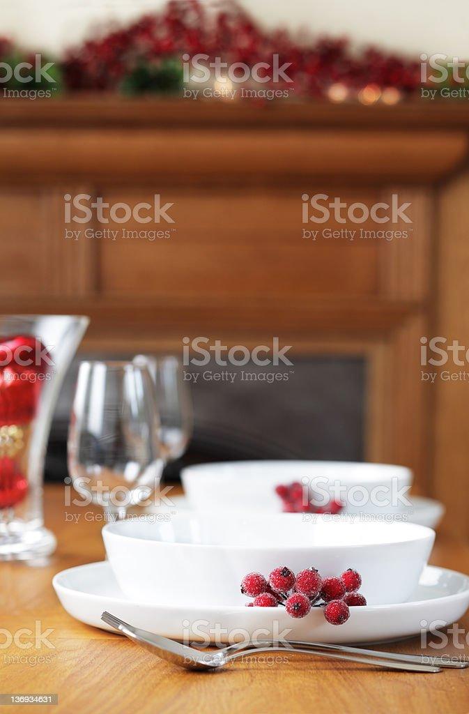 Christmas Holiday Table Setting royalty-free stock photo