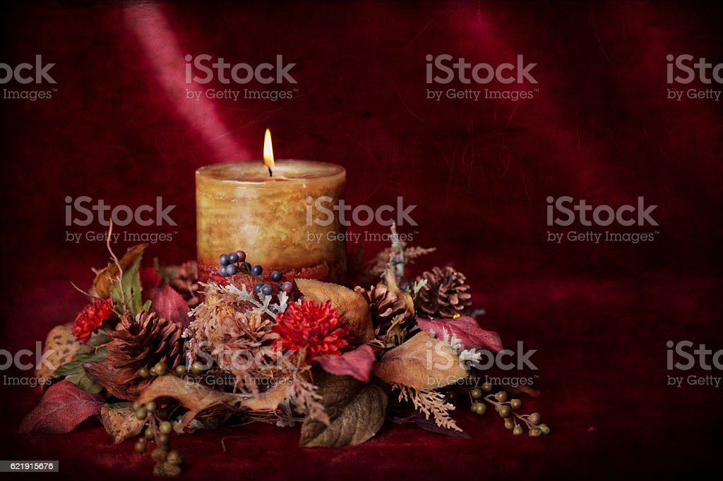 Christmas Holiday Thanksgiving Candle and Wreath on Textured Burgundy...
