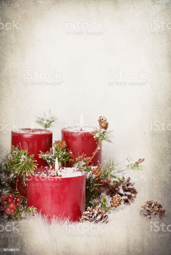 Christmas Holiday Thanksgiving Candle and Wreath on Textured White...