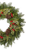 Christmas Holiday Wreath with Red Ribbon Isolated on White
