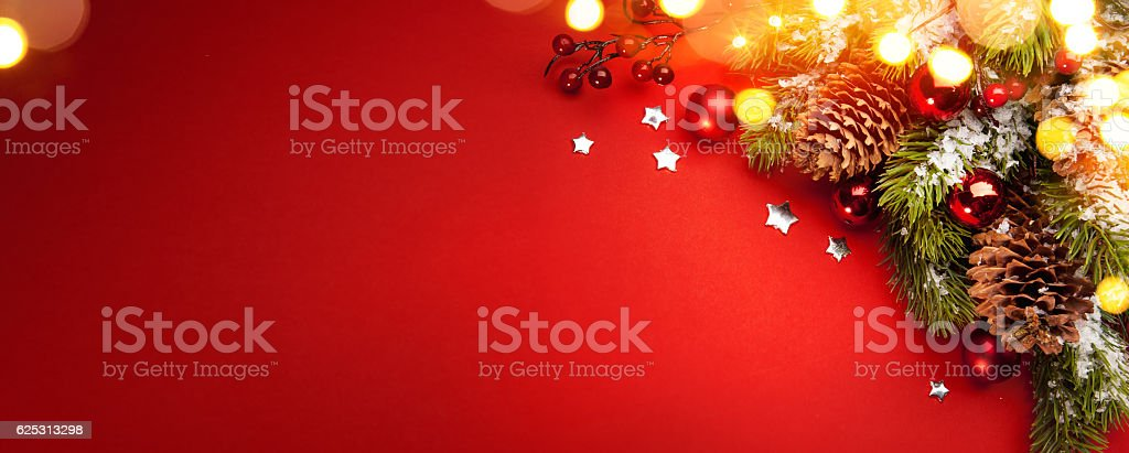 Christmas holidays composition on red background with copy space for...