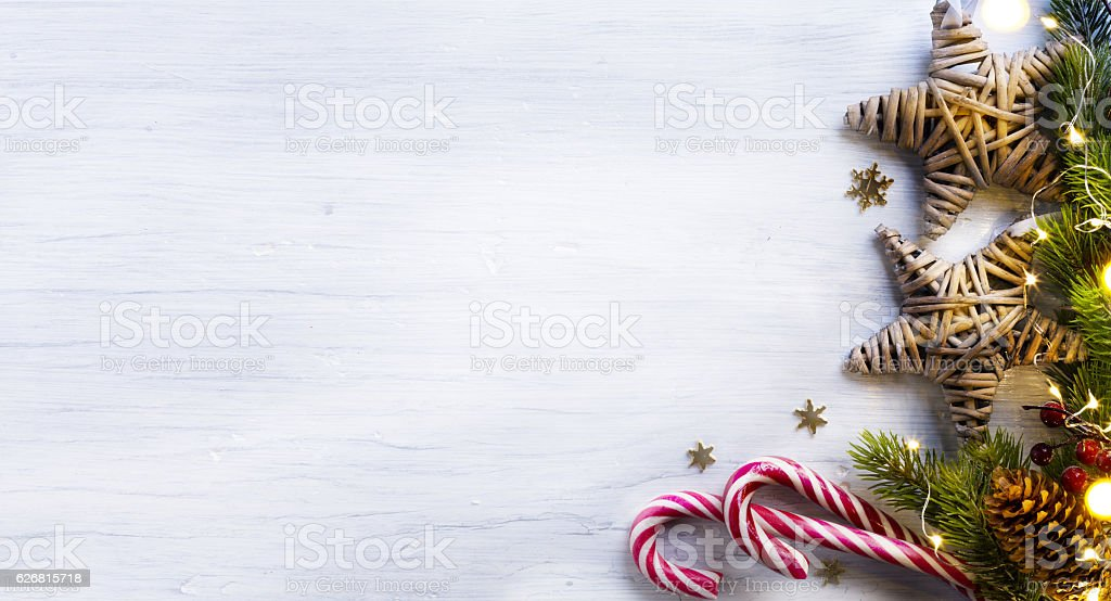 Christmas holidays composition on white wooden background with copy...