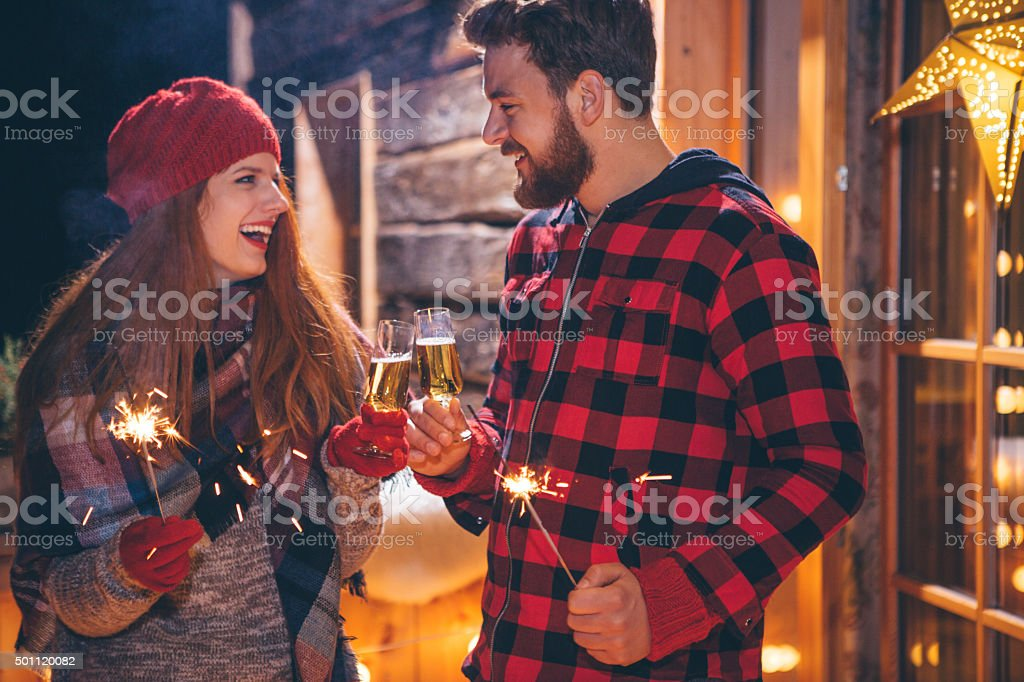 Christmas holidays on mountain. stock photo