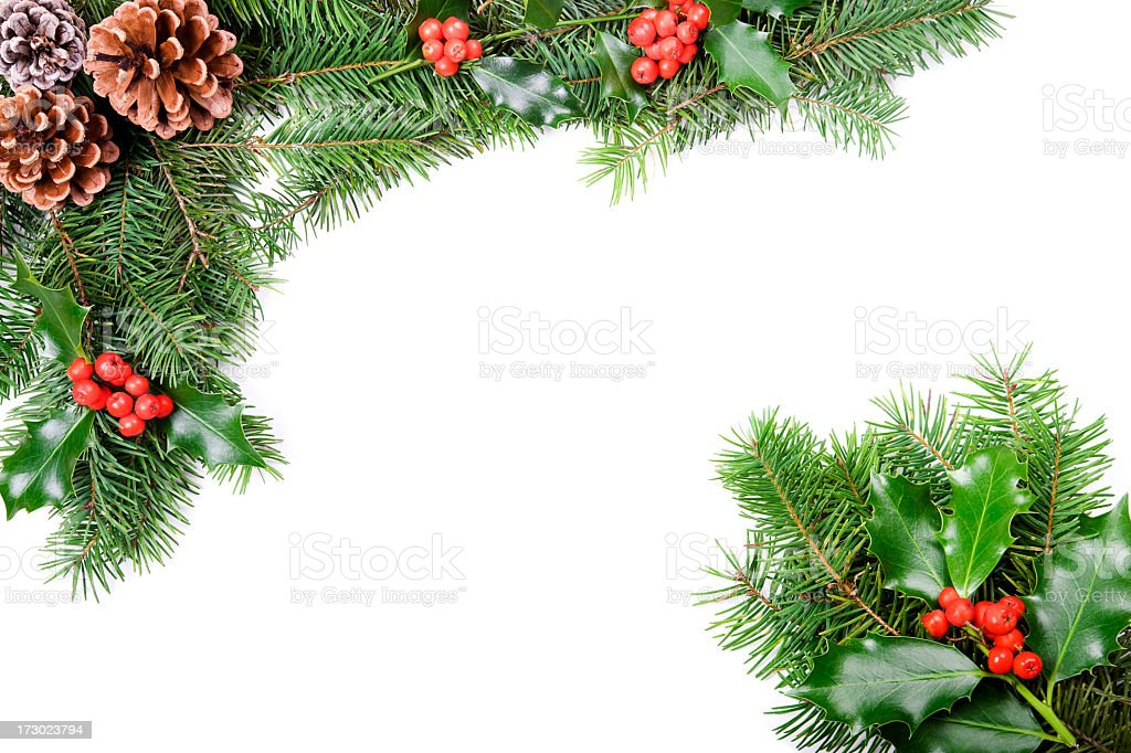A Christmas holly and pine cones border stock photo