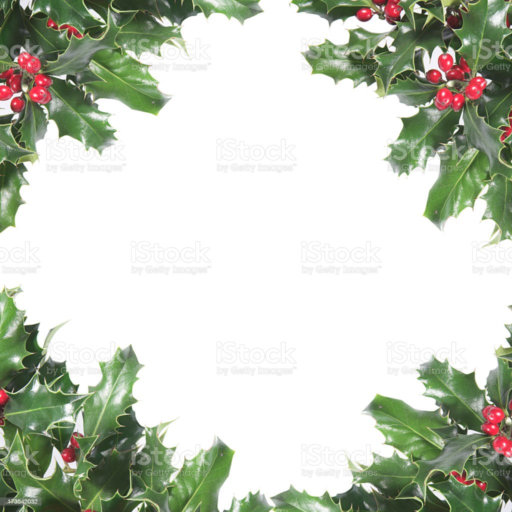 Christmas holly wreath bordered paper royalty-free stock photo