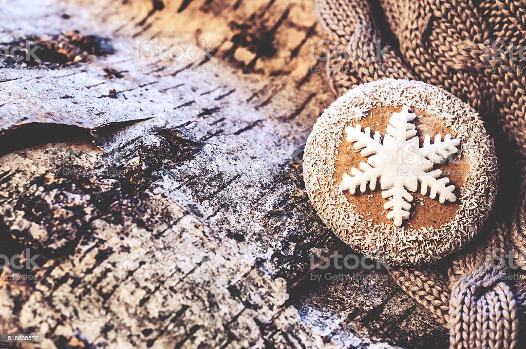 Christmas homemade cookies located on the tree bark stock photo