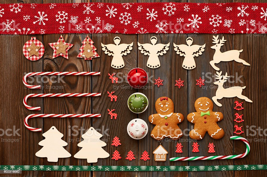 Christmas homemade decoration flat lay stock photo
