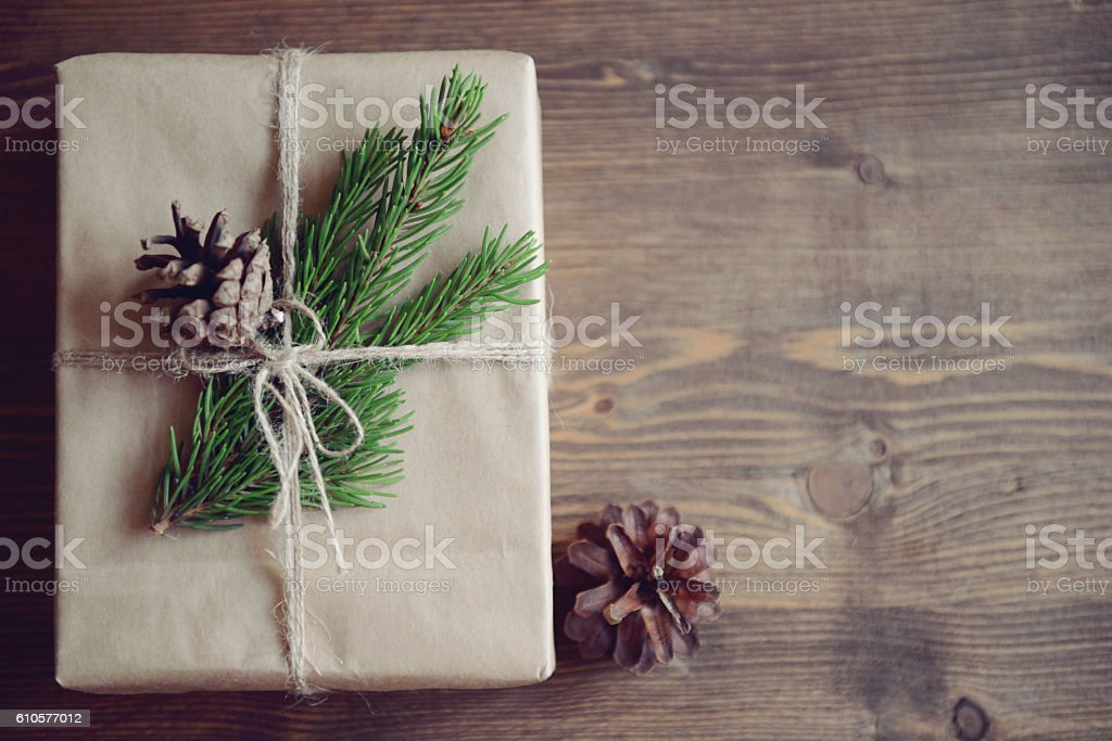 Christmas homemade gift on a wooden background stock photo