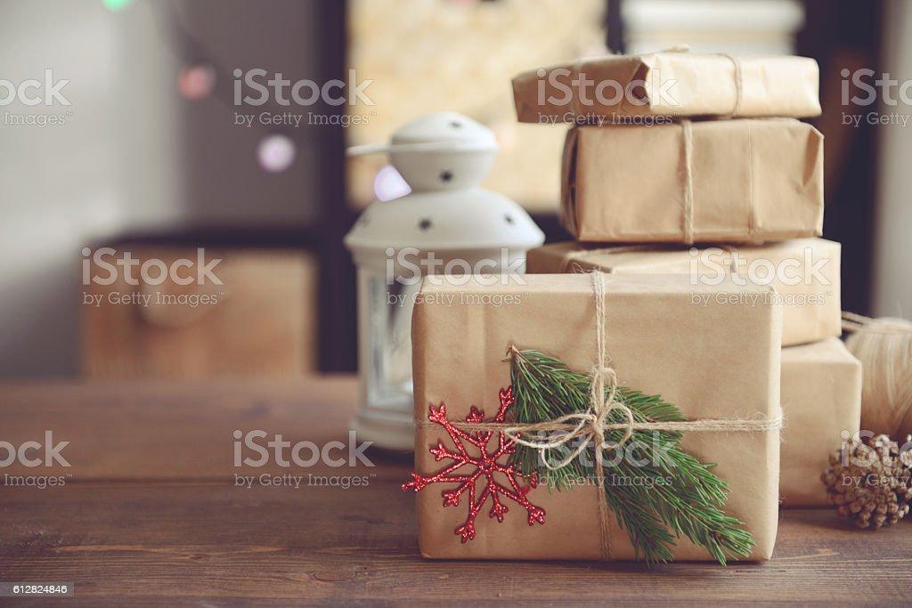 Christmas homemade gift stock photo