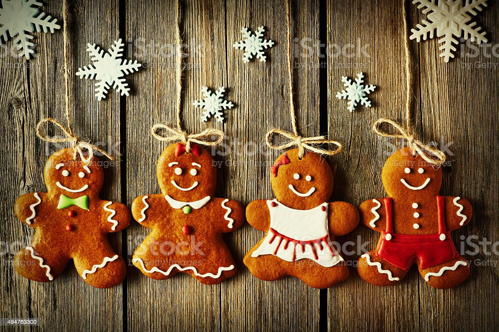 Christmas homemade gingerbread couple cookies stock photo